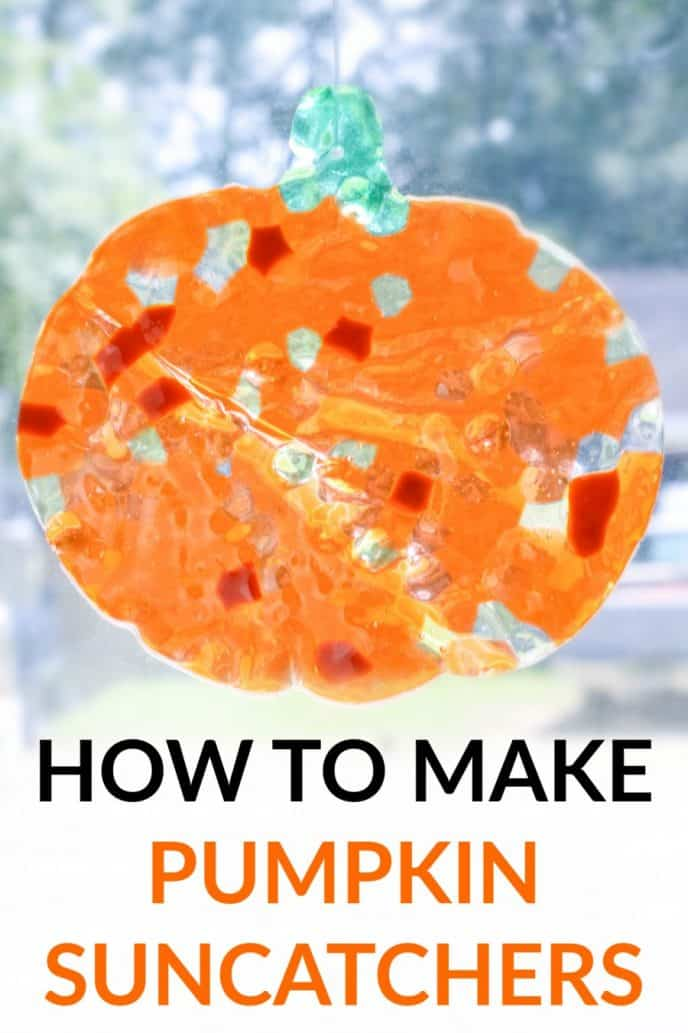 DIY Suncatchers - Fall Pumpkin Decor, a pumpkin bead suncatcher in a window reflecting sun.
