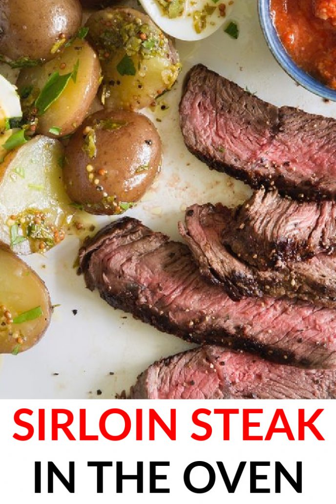 Sirloin steak cooked in the oven, on a plate with a side dish of potatoes