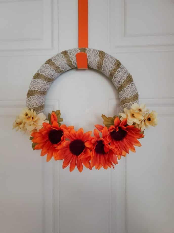 Thanksgiving wreath hanging on a door