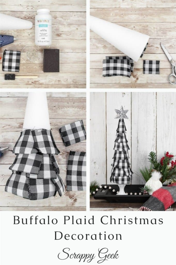Buffalo Plaid Christmas Decoration, a collage tutorial to make a Buffalo Plaid Christmas Tree Decoration