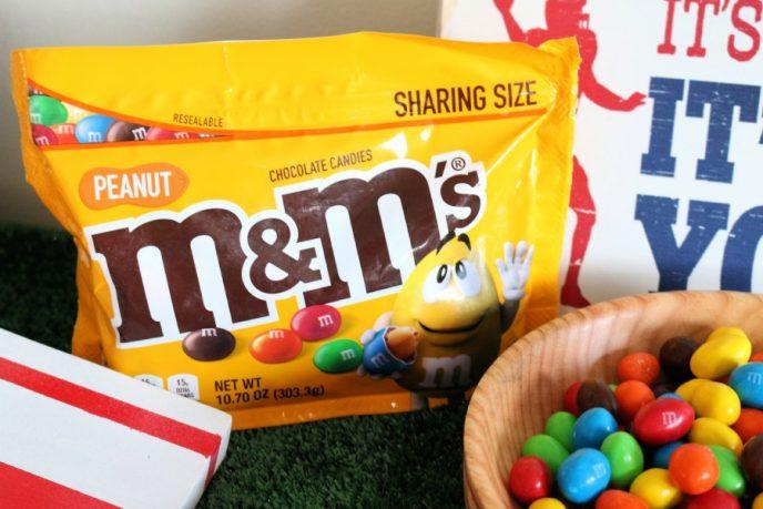 Football party snacks, M&M's Peanut candies.