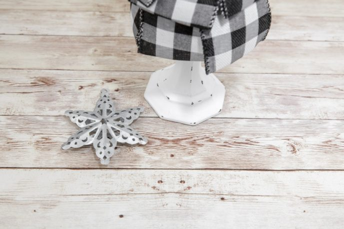 Star ornament for the top of our DIY buffalo plaid Christmas tree