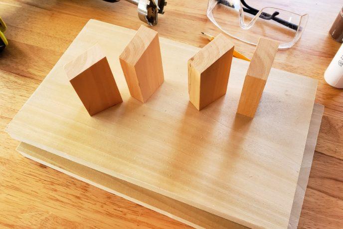 Wood to make tabletop cornhole boards