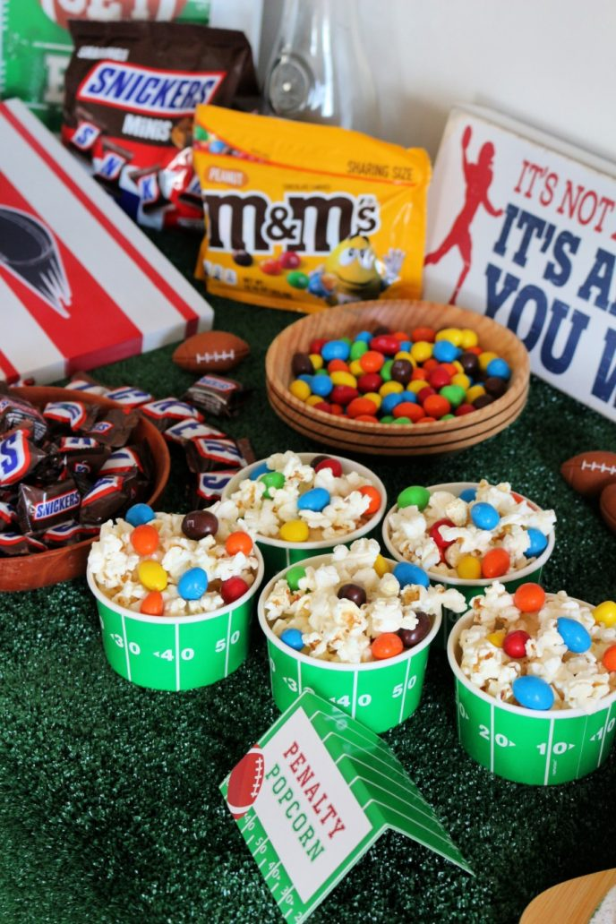 Football party table with snacks