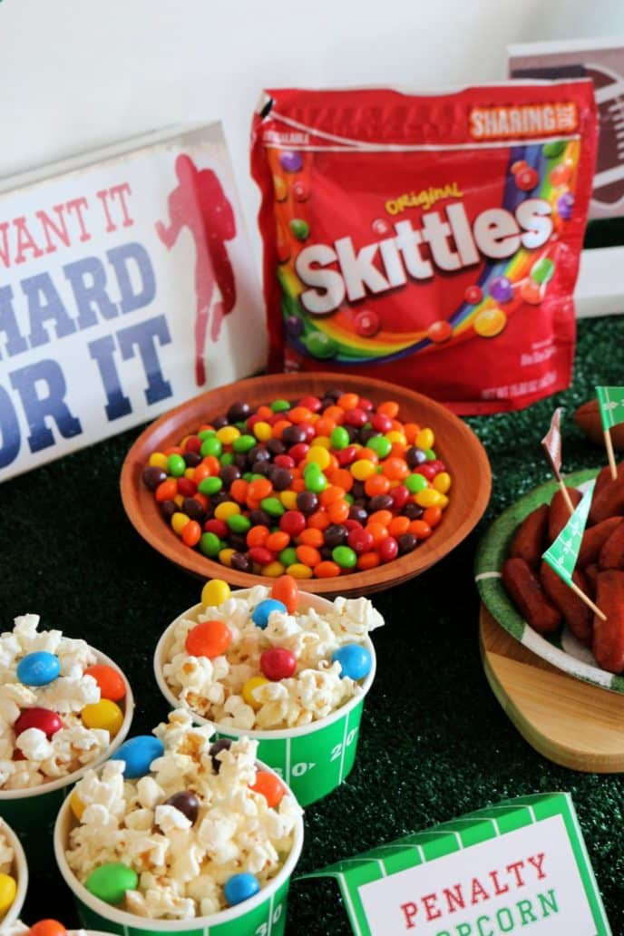 Football party table with food and snacks