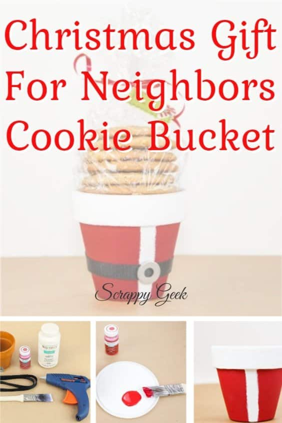 Santa cookie bucket Christmas gift for neighbors DIY craft idea with clay pot and paint