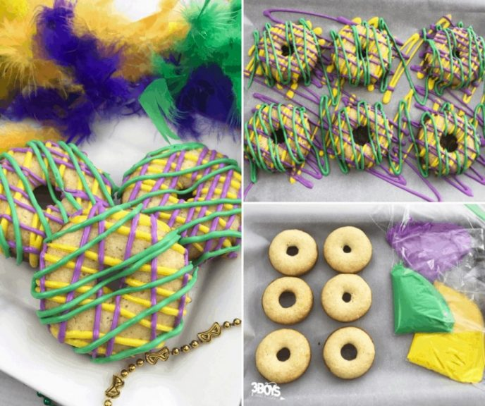 Donuts for Mardi Gras decorated with green, gold, and purple icing