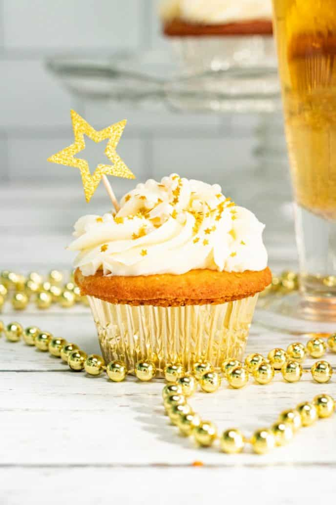 Champagne cupcakes for New Years dessert!