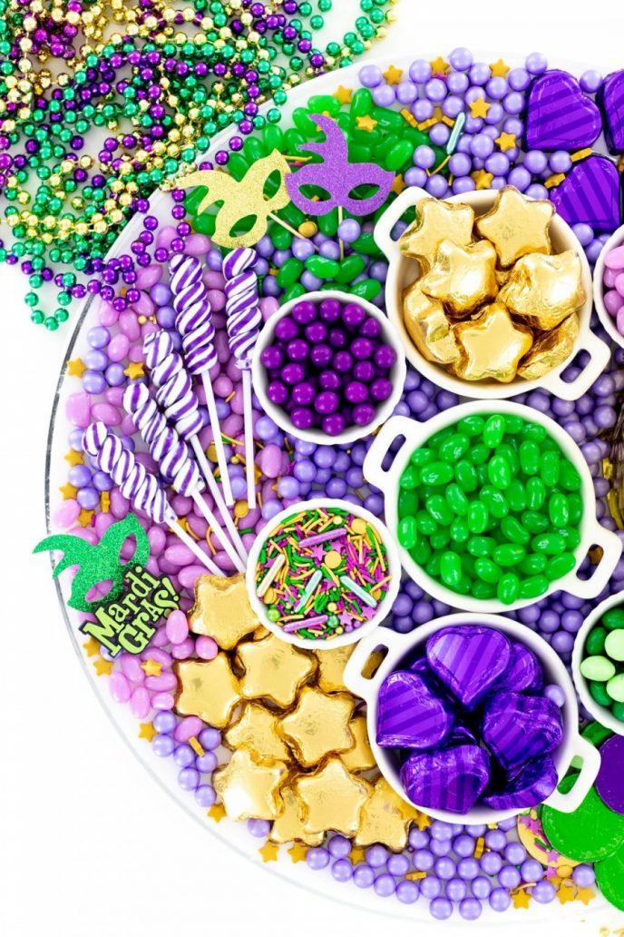 Mardi Gras candy charcuterie board