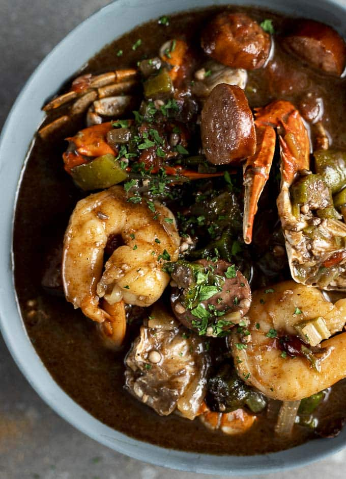 Mardi Gras Food, New Orleans gumbo loaded with your favorite seafood flavors
