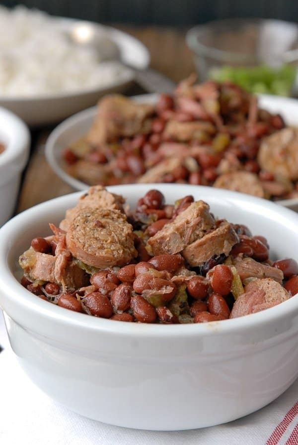 classic Louisiana red beans and rice recipe in a white ramekin