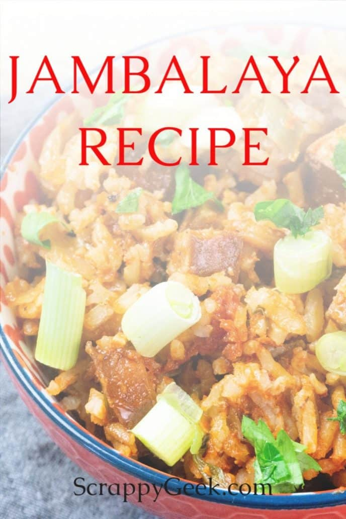 Jambalaya recipe in a bowl, jambalaya made in the oven and baked to perfection with sausage and shrimp.