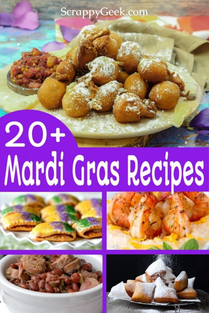 Mardi Gras food, a collage of New Orleans inspired recipes including beignets, king cake, shrimp and other New Orleans classics