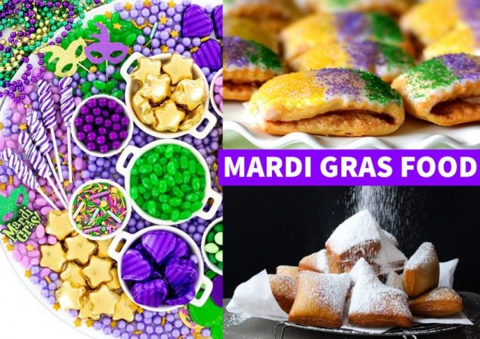 Mardi Gras food to make at home, a collage of candies, king cake, and beignets