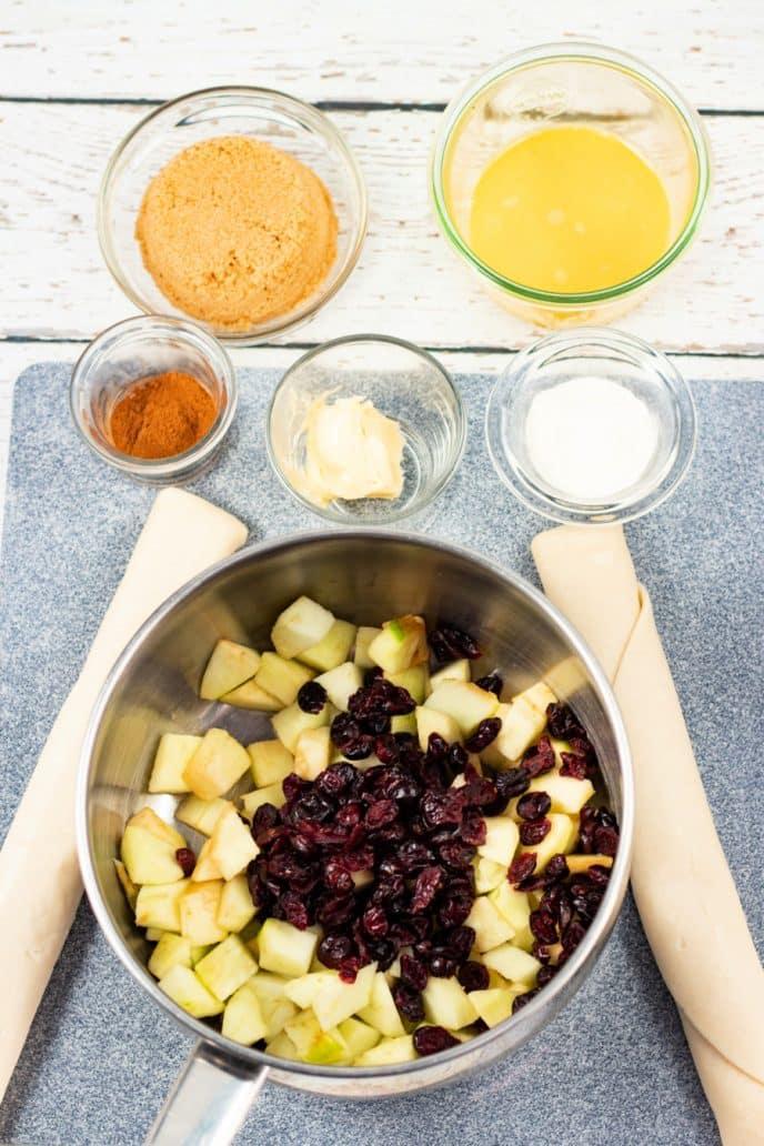 Ingredients to make apple turnovers