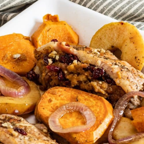 Stuffed pork chops recipe with stuffing and cranberries, onions, garlic, yams or sweet potatoes all plated nicely on a white dish