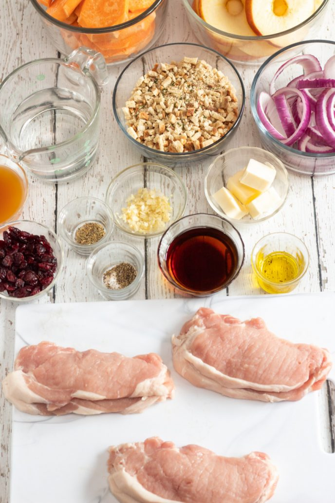 All the ingredients for making stuffed pork chops
