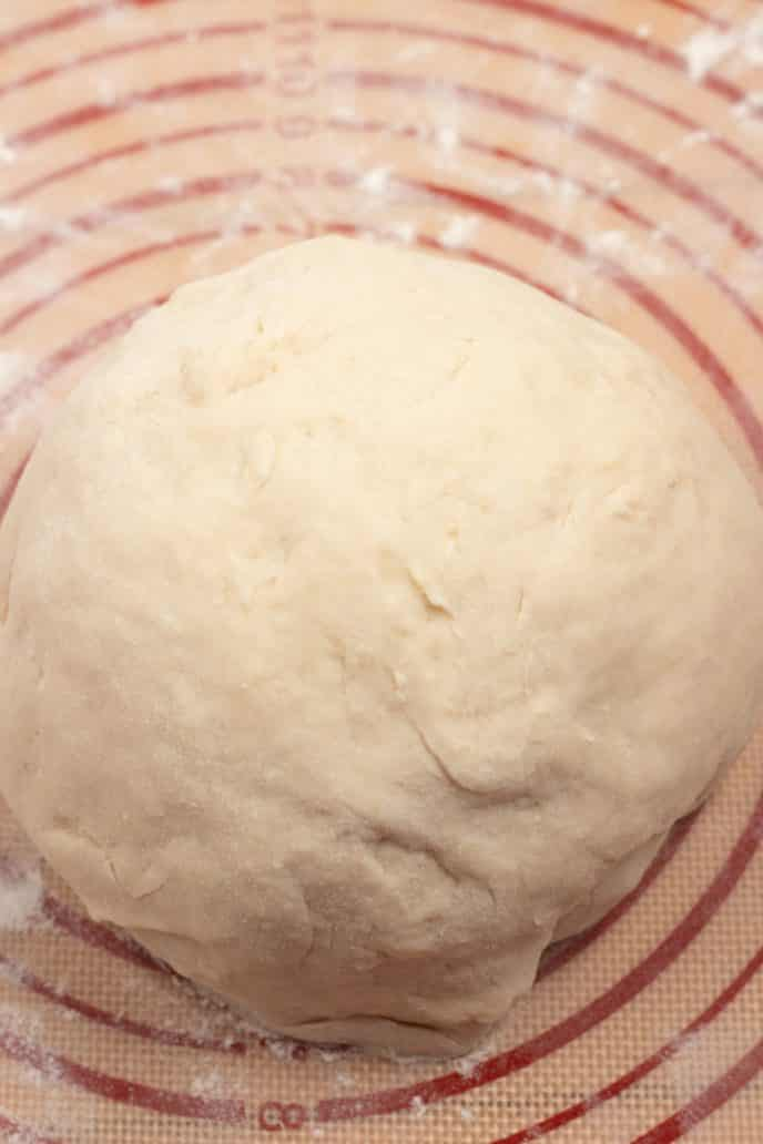 Danish pastry dough worked into a smooth ball on the work surface