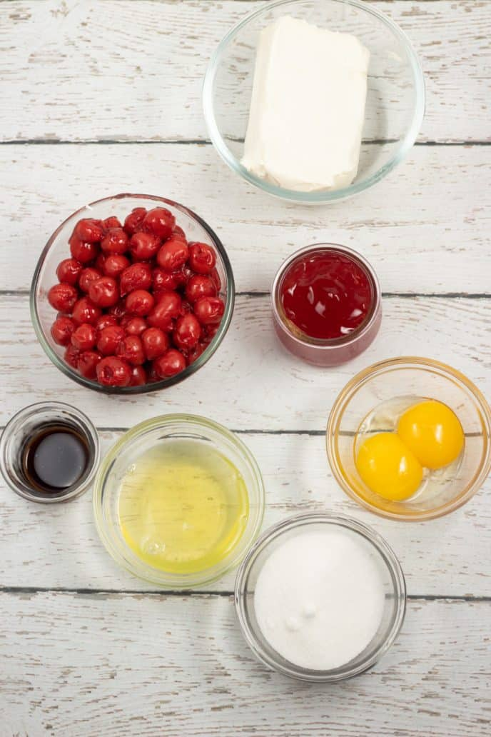 Ingredients for cherry filling and egg wash