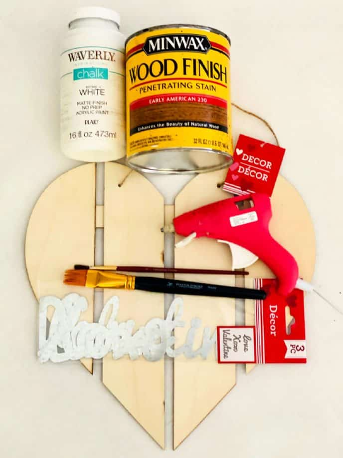 valentines gift diy materials, heart wood pallet, glue, paint, paint brushes, love sign