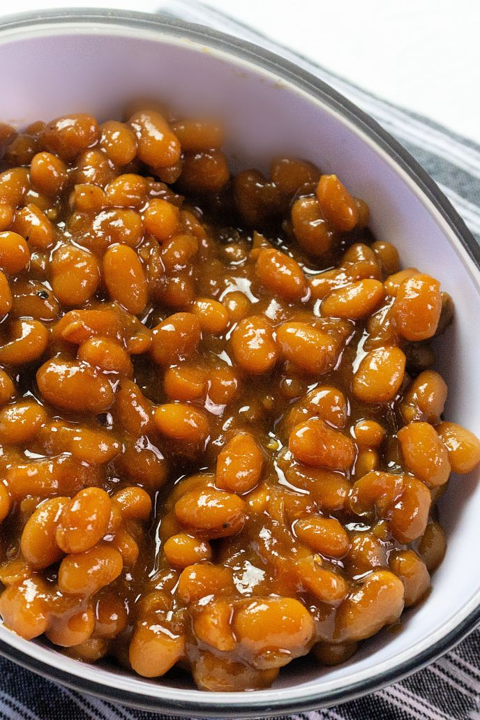 A bowl of baked beans made in the instant pot.