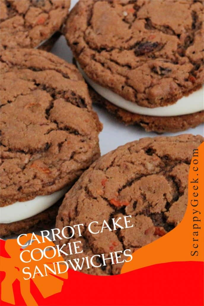 Carrot cake cookies and cream cheese frosting to make carrot cake cookie sandwiches! This carrot cake cookie recipe is easy and delicious.