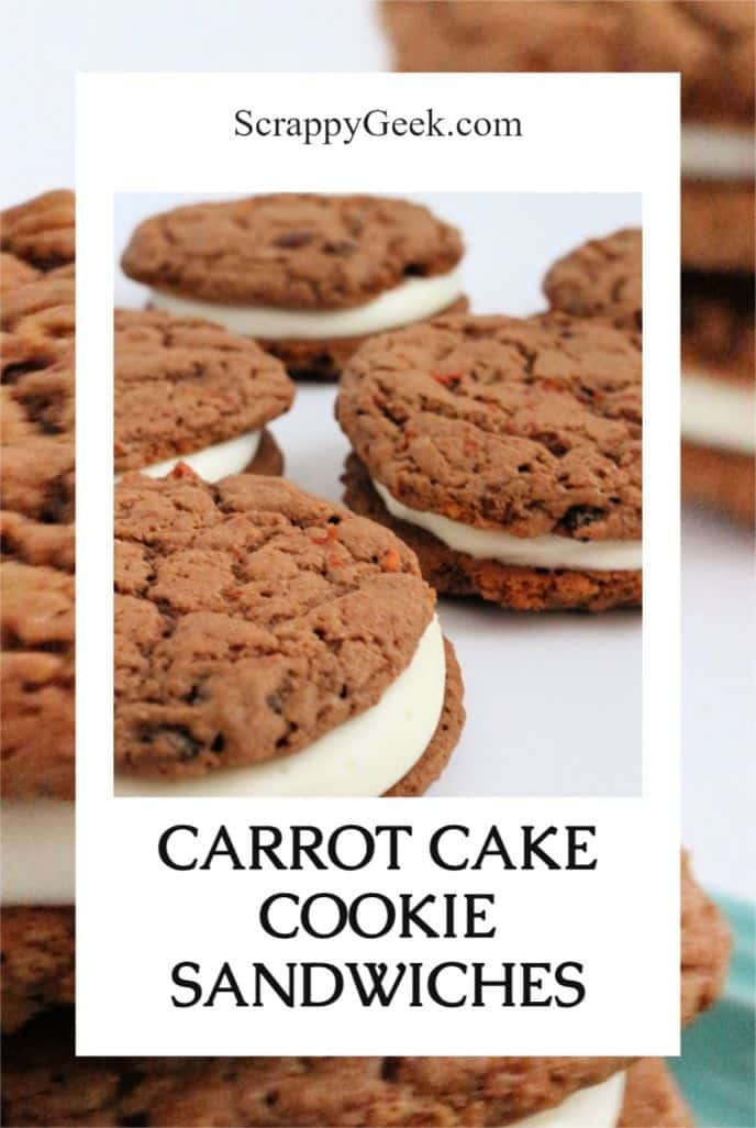 Carrot cake cookie recipe filled with cream cheese frosting