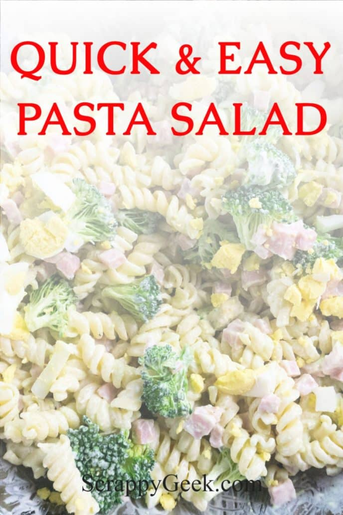 Pasta salad made with ham, broccoli, avocados, homemade dressing and more.
