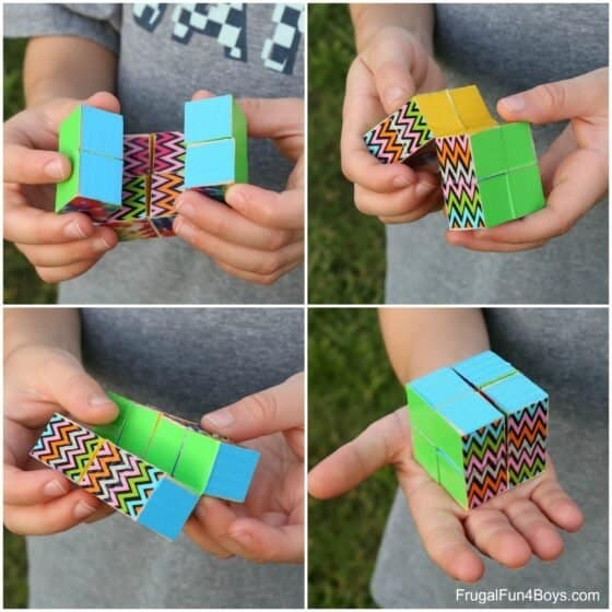 Endless cube made using duct tape.