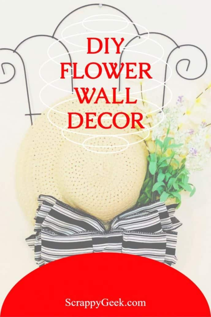 Flower wall decor Mother's Day DIY gifts, trellis with sun hat and flowers craft project.