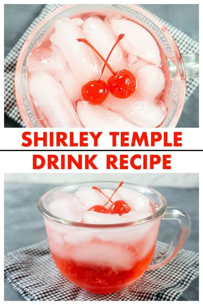 Shirley Temple Drink collage view from top down into cup and side of cup showing the drink with ice