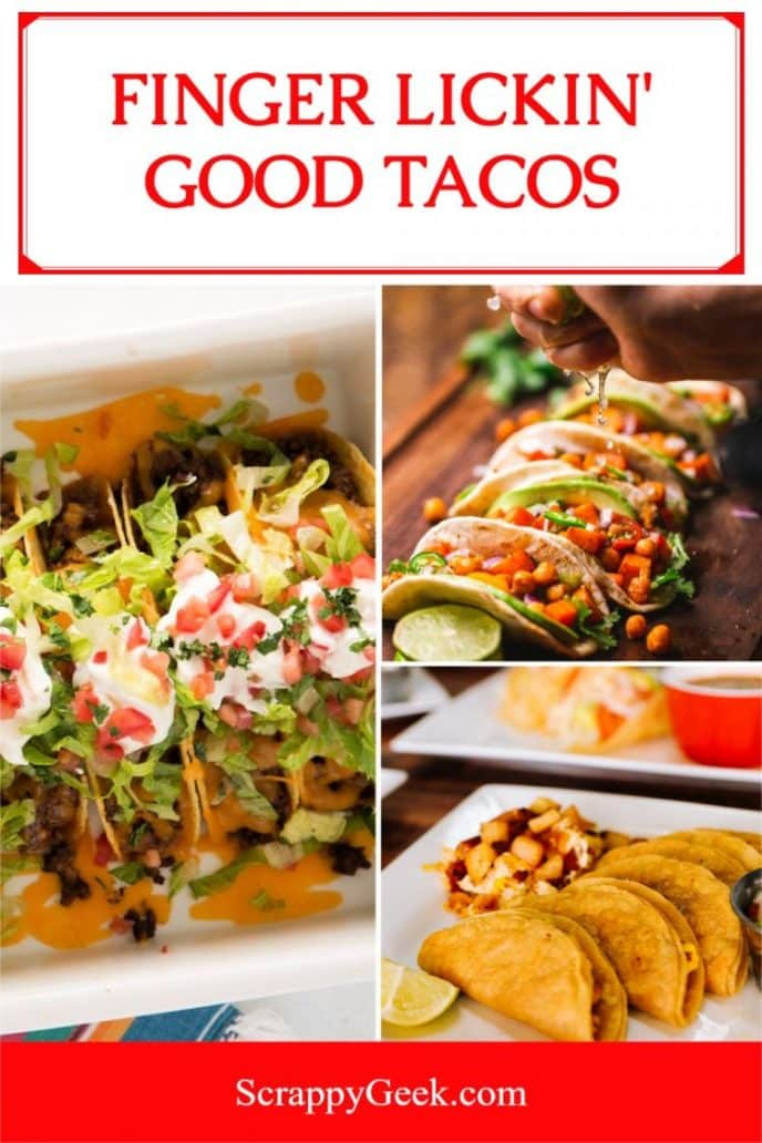 Delicious baked tacos, a collage of baked taco photos