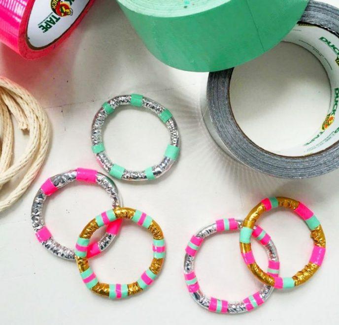 Decorative duct tape jewelry bracelets.