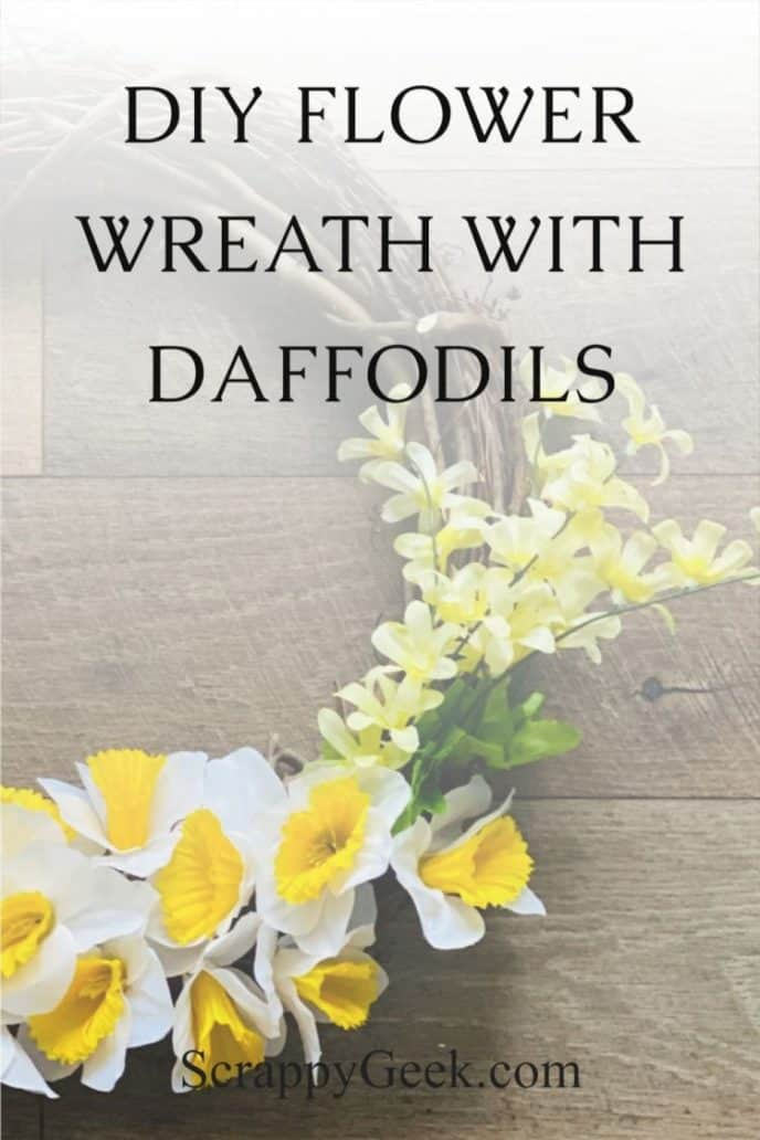 How to make a summer wreath for the front door with grapevine, daffodils, and dripping blossoms.
