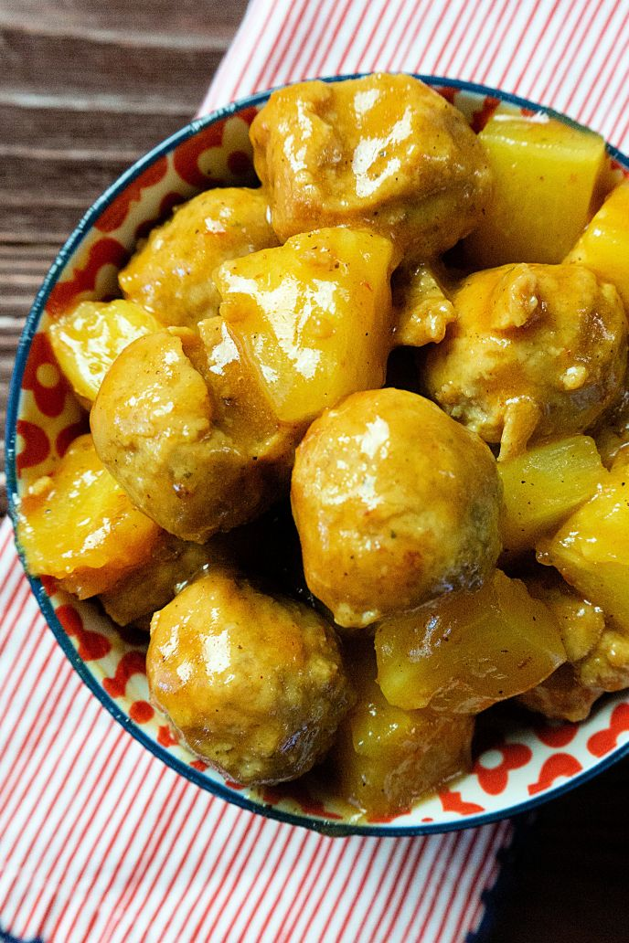 Instant pot meatballs with pineapple and honey BBQ sauce in a bowl