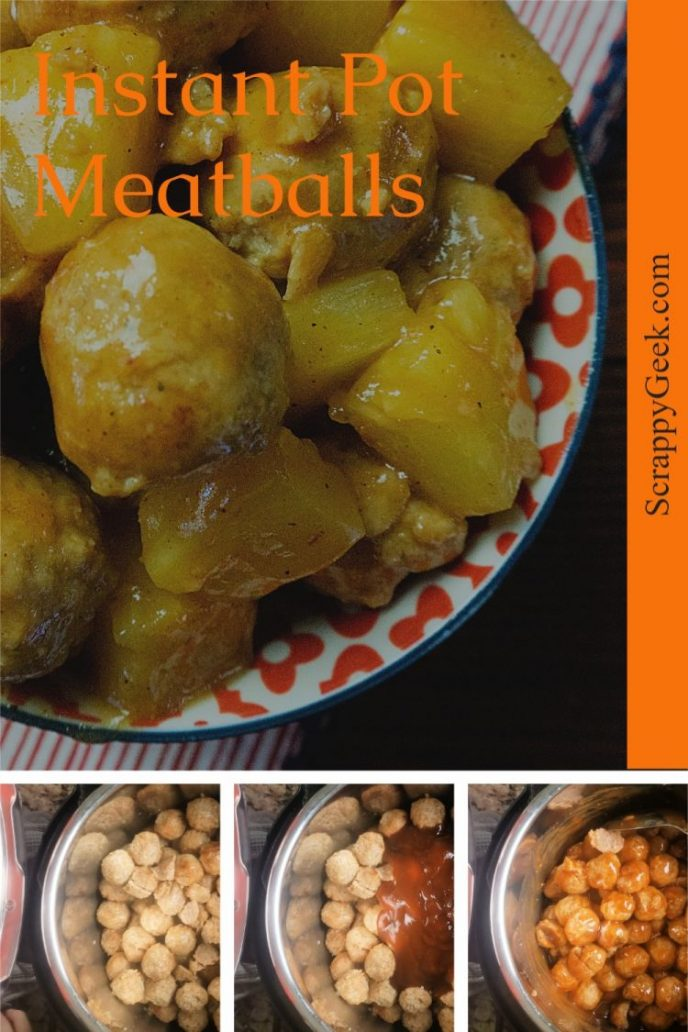 Instant pot meatballs, collage picture of making meatballs in an instant pot.