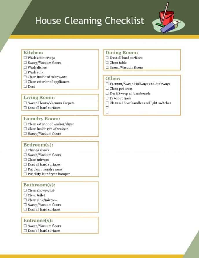 House cleaning checklist with items that should be cleaned in every home, check boxes next to each item