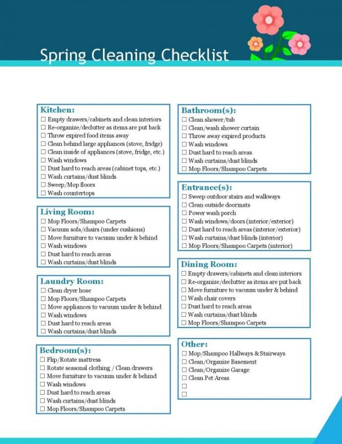 Spring cleaning checklist for the home, includes room by room cleaning instructions for spring cleaning