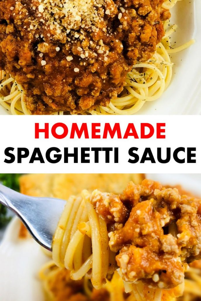 Homemade spaghetti sauce collage image with two photos of homemade meat sauce for spaghetti.