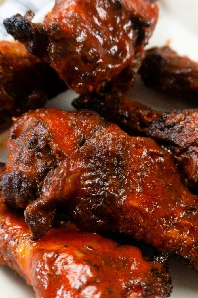 BBQ sauce on smoked chicken wings