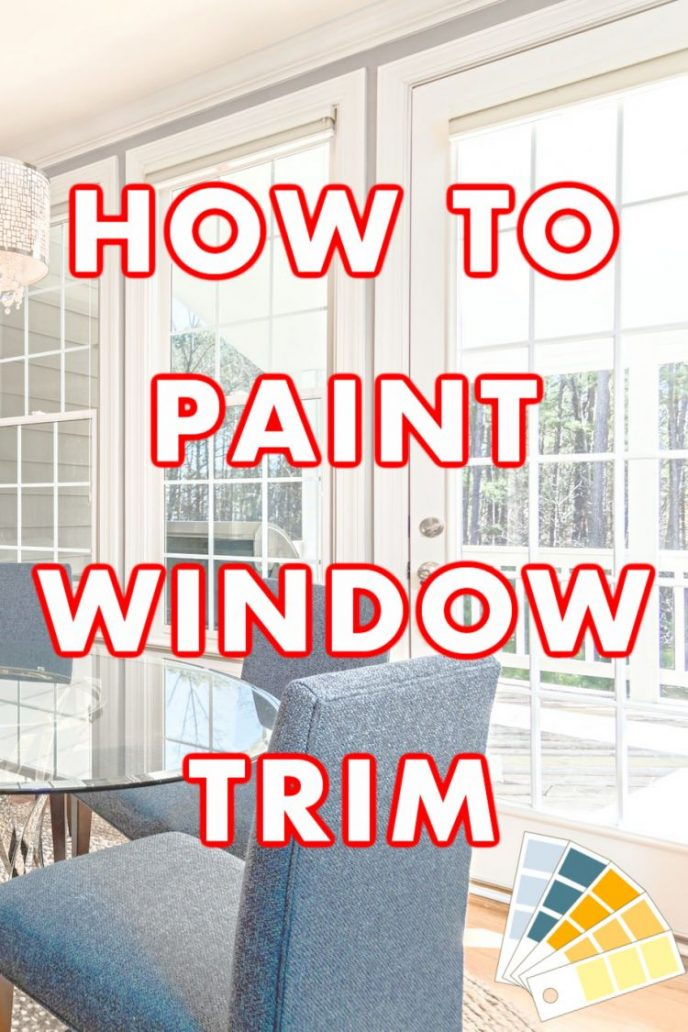 How to paint window trim, a photo of large French door windows painted white.