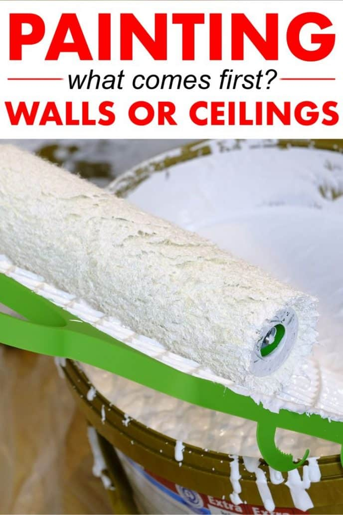A paint roller in a paint bucket with the text painting what comes first walls or ceilings over the photograph.