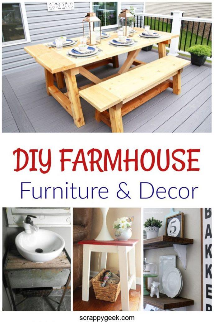DIY Farmhouse furniture and decor collage