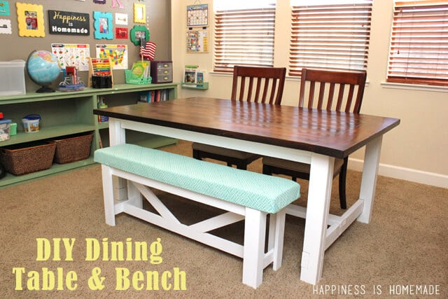 A farm table with matching bench