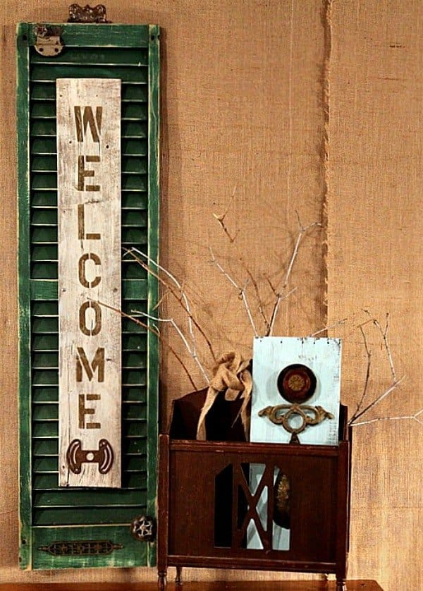 Upcycled shutter welcome sign