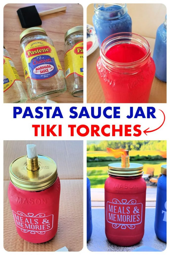 Collage of making tabletop tiki torches from old pasta sauce mason jars.