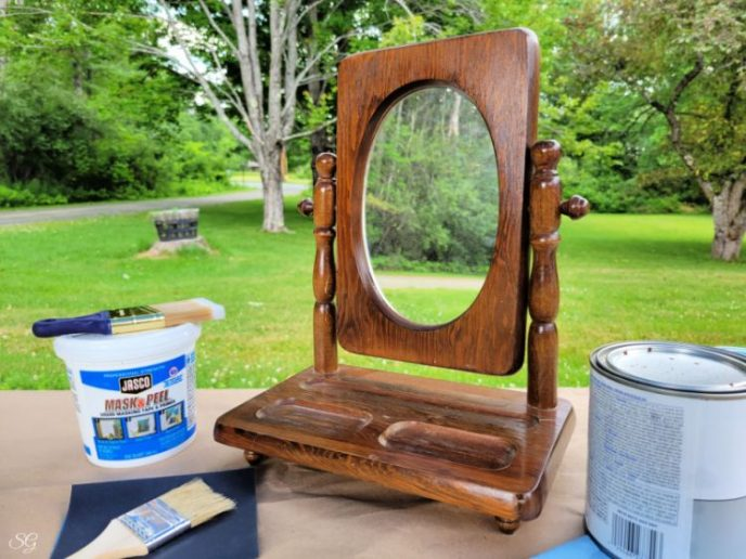 Wood framed vanity mirror with tilt and storage underneath ready to be painted