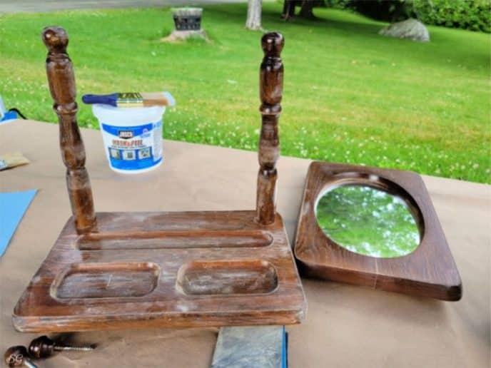 Sanding the mirror frame