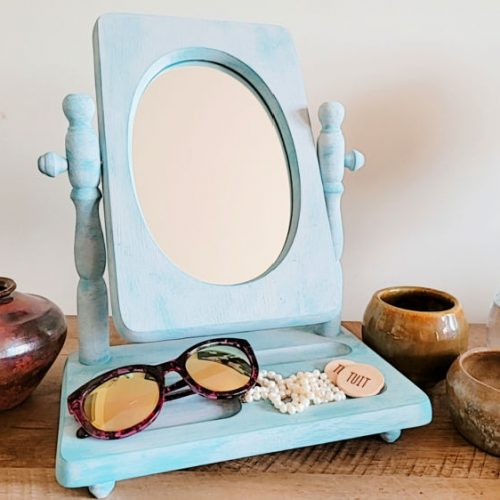 Mirror frame freshly painted with chalk paint