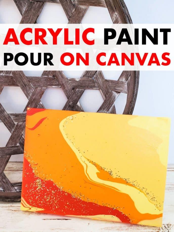 Acrylic paint pour on canvas